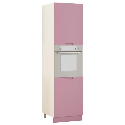 Dulap bucatarie Visuri, caz 12 - Bucuresti, pentru cuptor, alb lucios + lila mat, 2 usi, 60 x 60 x 214 cm