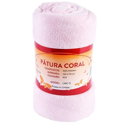 Patura Coral LMC-S 130 x 170 cm, poliester, roz