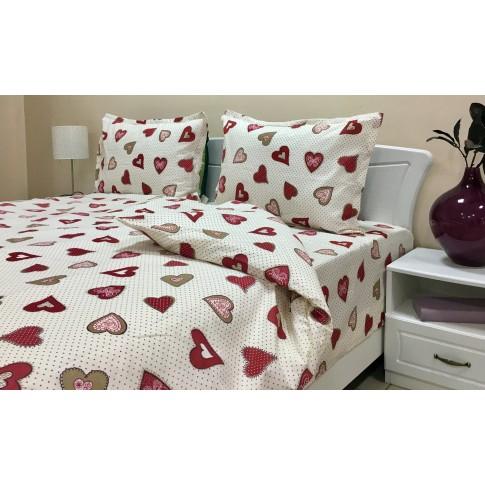 Lenjerie de pat, 2 persoane, Ania, bumbac + poliester, 4 piese, alb + rosu + bej