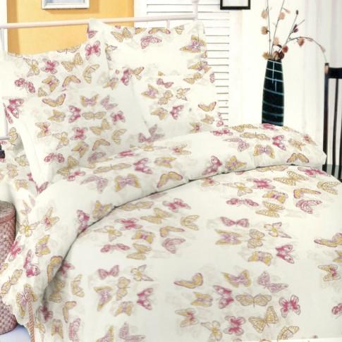 Lenjerie de pat, 2 persoane, Deluxe Pucioasa Filly pink, bumbac 100%, alb + roz + galben