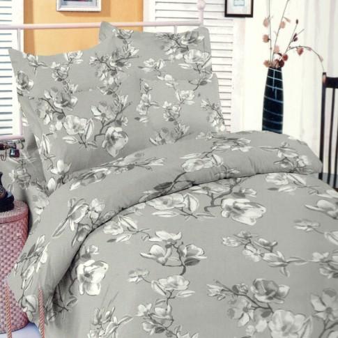 Lenjerie de pat, 2 persoane, Deluxe Pucioasa Magnolia grey, bumbac 100%, 4 piese, gri
