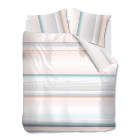 Lenjerie de pat Lune Pastel, 2 persoane, bumbac 100%, roz / blue, 4 piese
