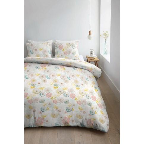 Lenjerie de pat Junia Yellow, 2 persoane, bumbac 100%, model floral, 4 piese