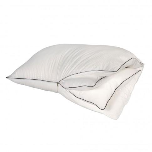 Perna pentru dormit Bedora 3-in-1, anatomica, fibra siliconica + spuma memory, alba, 50x70 cm