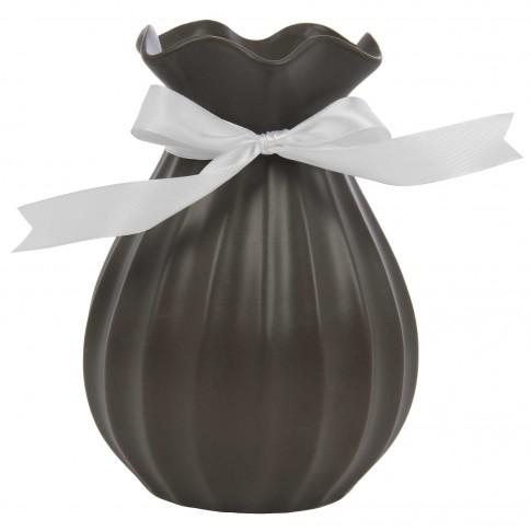 Vaza ceramica decorativa, 354H, neagra, 14.5 x 19.5 cm