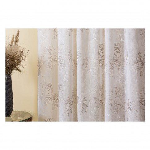 Perdea Mendola Fabrics, model Cybele, Saronga, batist, bej, H 280 cm