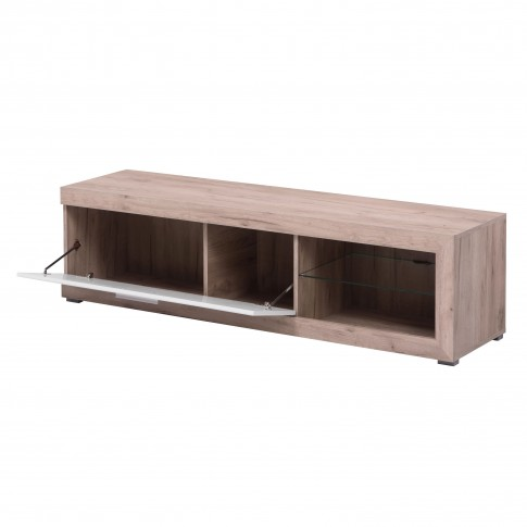 Comoda TV Remo, stejar gri + folie lucioasa alba, 162 x 41.5 x 43.5 cm, 1C