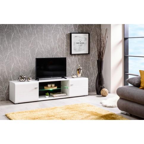 Comoda TV Rex, cu lumini, alb mat + negru + folie lucioasa alba, 170 x 41.5 x 41.5 cm, 2C