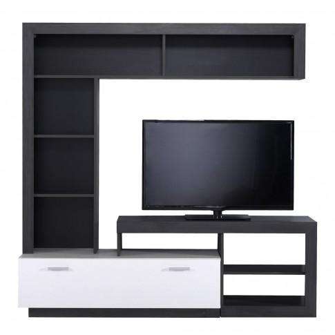 Biblioteca living Glen, lemn negru + alb mat, 170.5 cm, 2C