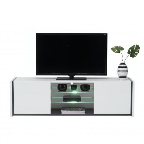 Comoda TV Zoi, cu lumini, alb mat + lemn negru + folie lucioasa alba, 152 x 40 x 44.5 cm, 2C