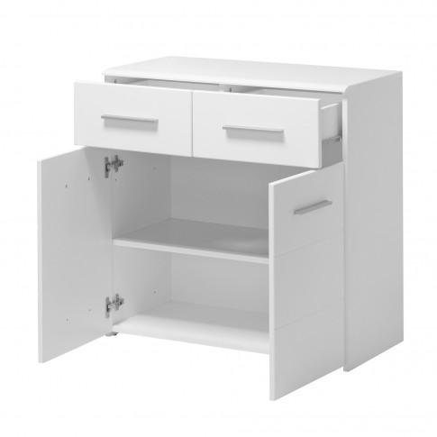 Comoda dormitor Lina 2K2F, cu 2 sertare, alb + alb lucios, 80 x 80.5 x 40 cm, 2C