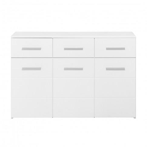 Comoda dormitor Lina 3K3F, cu 3 sertare, alb + alb lucios, 120 x 80.5 x 40 cm, 2C