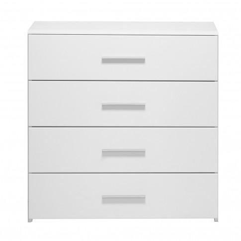 Comoda dormitor Lina 4F, cu 4 sertare, alb + alb lucios, 80 x 80.5 x 40 cm, 2C