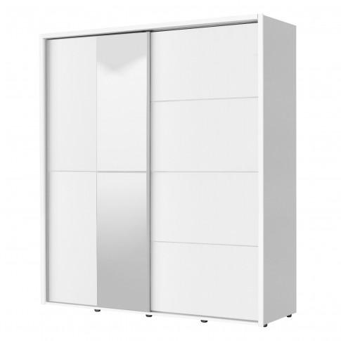 Dulap dormitor Logan 180, alb, 2 usi glisante, cu oglinda, 184 x 61 x 206 cm, 3C