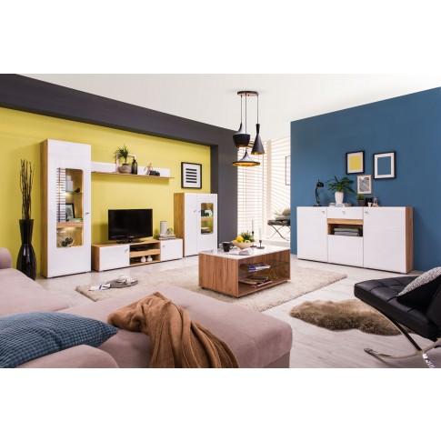 Comoda TV Louis, stejar auriu + alb lucios, 153 x 41.5 x 37.5 cm, 1C
