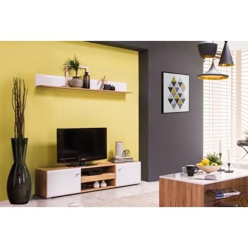 Etajera living Louis, stejar auriu + alb lucios, 153 x 19.5 x 19 cm, 1C
