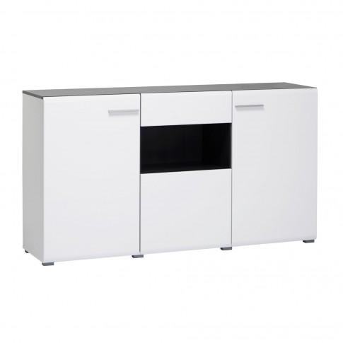 Comoda cu sertar Enzo 3K1F, alb mat + lemn negru + folie lucioasa alba, 173 x 41.5 x 96.5 cm, 2C