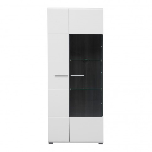 Vitrina living Enzo 2K VS1 190, cu usa sticla, alb mat + lemn negru + folie lucioasa alba, 77.5 x 35 x 190 cm, 3C