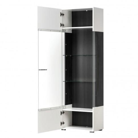 Vitrina living Enzo 1KVS, cu usa sticla, alb mat + lemn negru + folie lucioasa alba, 58 x 35 x 190 cm, 3C