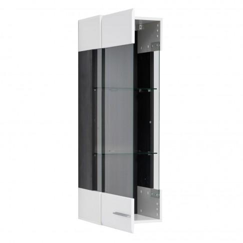 Vitrina living Enzo 1K M, cu usa sticla, alb lucios + lemn negru, 40 x 35 x 120 cm, 2C
