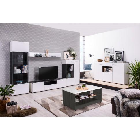 Comoda TV cu sertar Enzo 150, alb mat + lemn negru + folie lucioasa alba, 153 x 41.5 x 38.5 cm, 1C