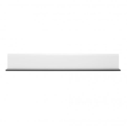 Etajera PAL, perete, Enzo ZP, lemn negru + folie lucioasa alba, 153 x 19.5 x 19 cm, 1C