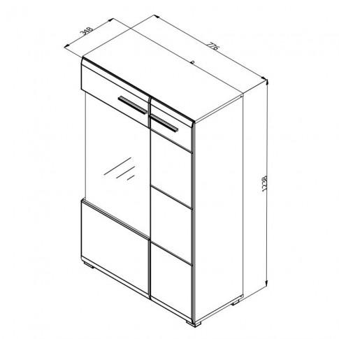 Vitrina living Enzo 2K VS1 125, cu usa sticla, alb mat + lemn negru + folie lucioasa alba, 77.5 x 35 x 124 cm, 3C