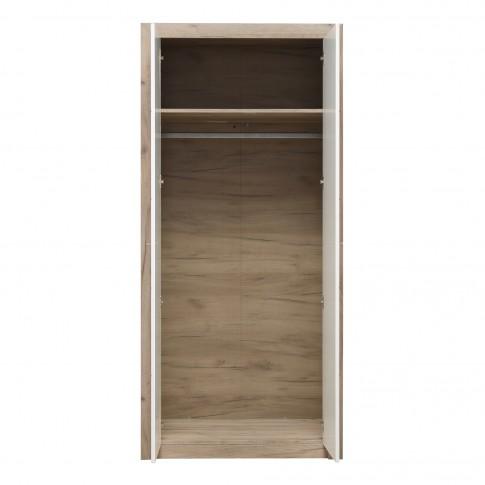 Dulap living Astor 2K, stejar gri + alb lucios, 2 usi, 90 x 55 x 194.5 cm, 2C