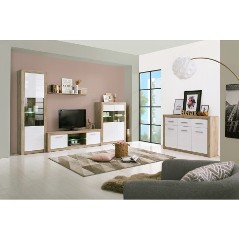 Comoda TV Astor 160, stejar gri + alb lucios, 158.5 x 41.5 x 46.5 cm, 2C