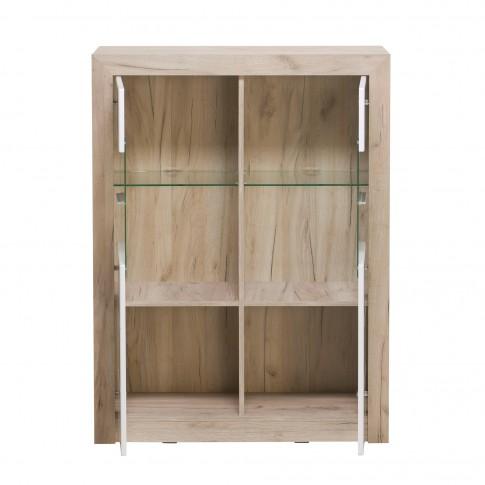 Vitrina living Astor 2K VS2, stejar gri + alb lucios, 93 x 35 x 124 cm, 3C