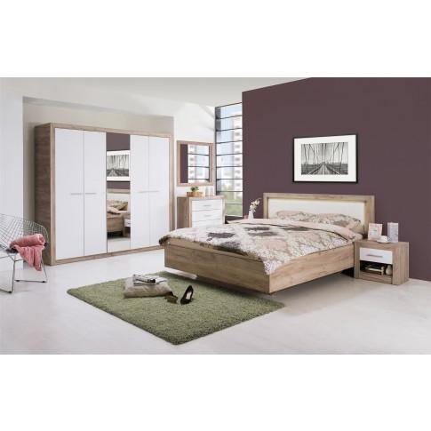 Comoda dormitor Etna 2K2F, cu 2 sertare, stejar gri + folie lucioasa alba, 93 x 90 x 35 cm, 2C
