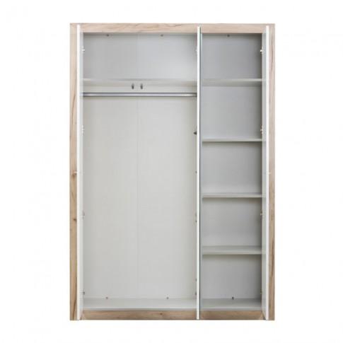 Dulap dormitor Astor 3K1O, stejar gri + alb lucios, 3 usi, cu oglinda, 140.5 x 55.5 x 204 cm