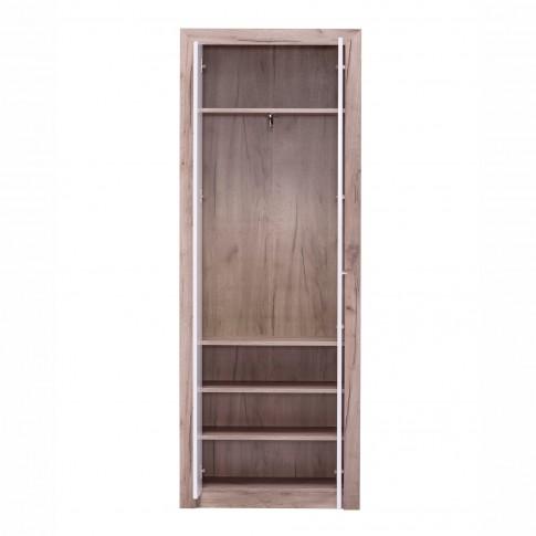 Dulap hol Astor P2, cu o agatatoare si rafturi, stejar gri + folie lucioasa alba, 2 usi, 730 x 350 x 194.5 mm, 2C