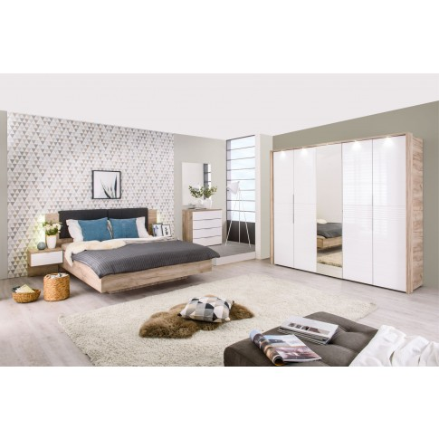 Pat dormitor David, matrimonial, tapitat, cu 2 noptiere si lumini, stejar gri + alb + gri, 160 x 200 cm, 6C
