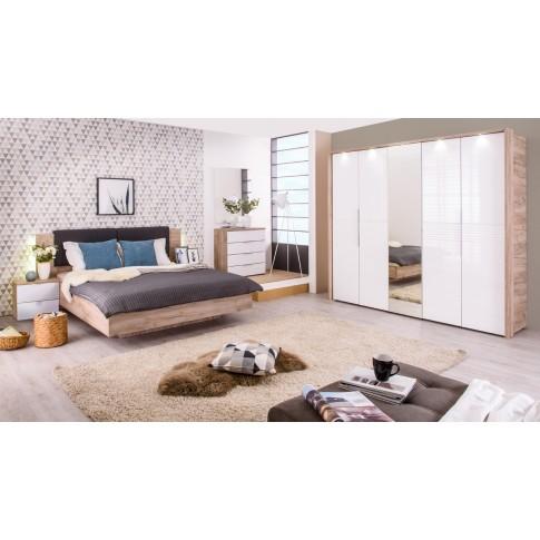 Pat dormitor David, matrimonial, tapitat, cu lumini, stejar gri + gri, 160 x 200 cm, 5C