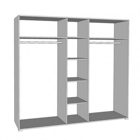 Dulap dormitor Karl 5K1O, alb + lemn negru + alb lucios, 5 usi, cu oglinda, 223.5 x 55.5 x 206 cm, 5C