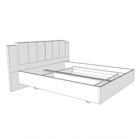 Pat dormitor Karl, matrimonial, tapitat, cu lumini, alb + gri, 160 x 200 cm, 5C