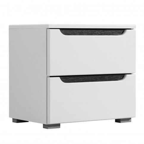 Noptiera Karl NO2F, cu 2 sertare, alb + lemn negru, 44.5 x 42.5 x 33 cm, 1C