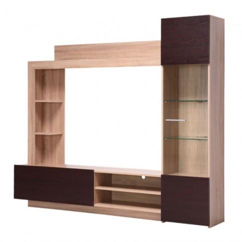 Biblioteca living Toto, stejar sonoma + wenge, cu lumini, 204 cm, 3C