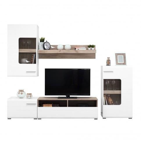 Biblioteca living Bruno, alb + stejar gri + alb lucios, cu lumini, 231 cm, 5C