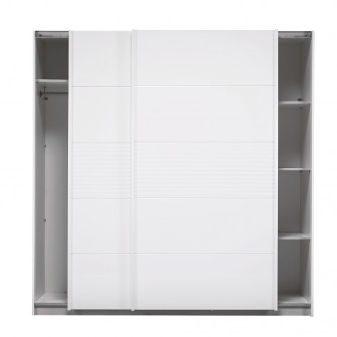 Dulap dormitor Hill, alb + alb lucios, 2 usi glisante, 200 x 59.5 x 203.5 cm