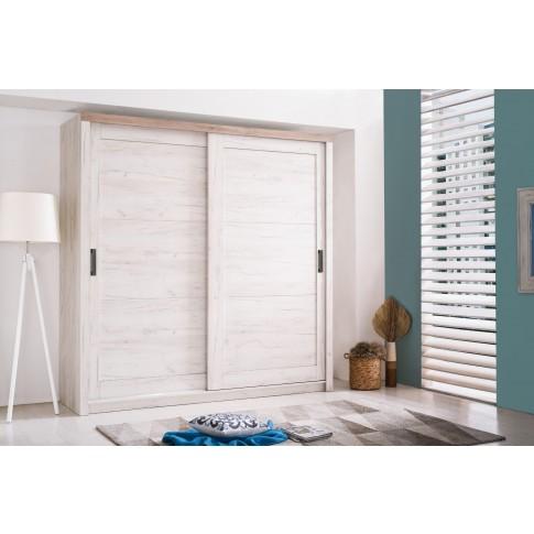 Dulap dormitor Kent 225, stejar alb + stejar gri, 2 usi glisante, 223 x 67 x 226.5 cm, 6C