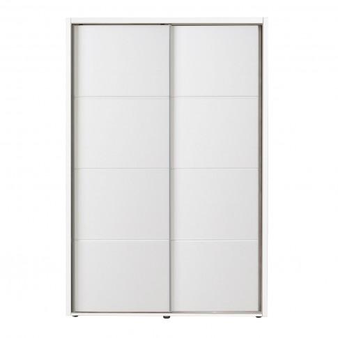 Dulap dormitor Logan 135, alb, 2 usi glisante, 137.5 x 61 x 206 cm, 3C