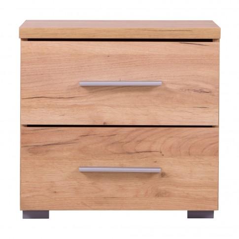 Noptiera Uni NO2F, cu 2 sertare, stejar auriu, 44.5 x 43 x 33.5 cm, 1C