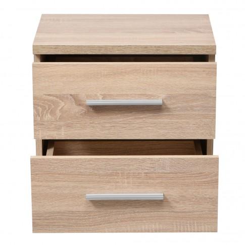 Noptiera Uni NO2F, cu 2 sertare, stejar sonoma, 44.5 x 43 x 33.5 cm, 1C