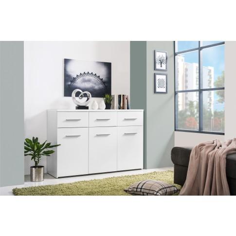 Comoda dormitor Elba 3K3F, cu 3 sertare, alba, 120 x 81 x 40 cm, 2C