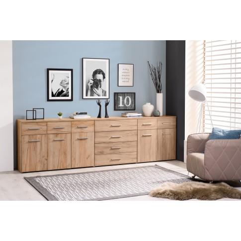 Comoda dormitor Elba 3K3F, cu 3 sertare, stejar auriu, 120 x 81 x 40 cm, 2C