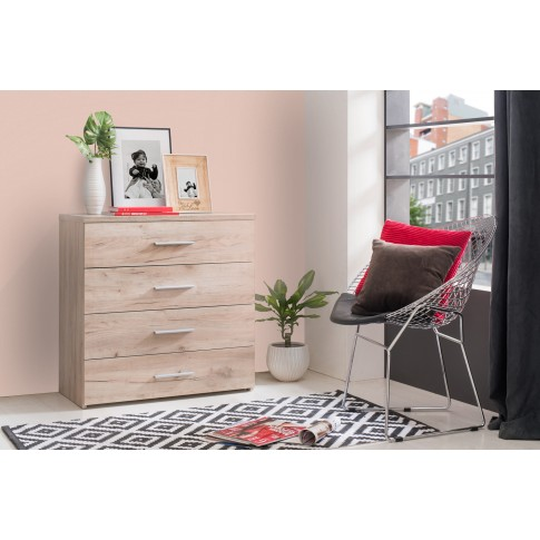 Comoda dormitor Elba 4F, cu 4 sertare, stejar gri, 80 x 81 x 40 cm, 2C