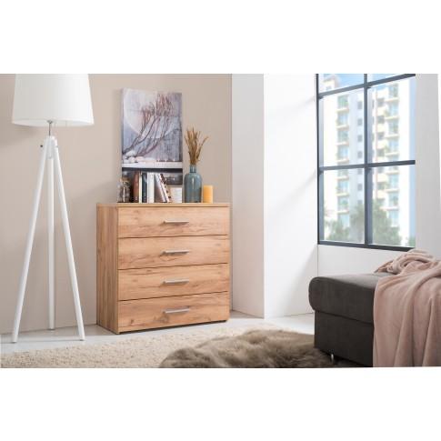 Comoda dormitor Elba 4F, cu 4 sertare, stejar auriu, 80 x 81 x 40 cm, 2C