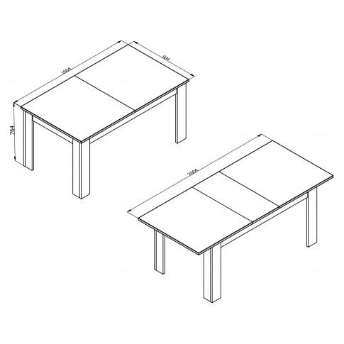 Masa bucatarie extensibila Oscar TS, dreptunghiulara, 6 persoane, alba, 160.5 / 200.5 x 90.5 x 76.5 cm, 2C